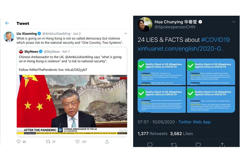 Liu Xiaoming's Twtter and Hua Chunying's Twitter