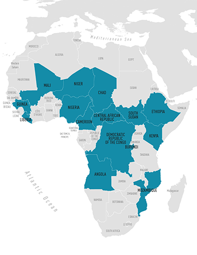 Measles map of Africa